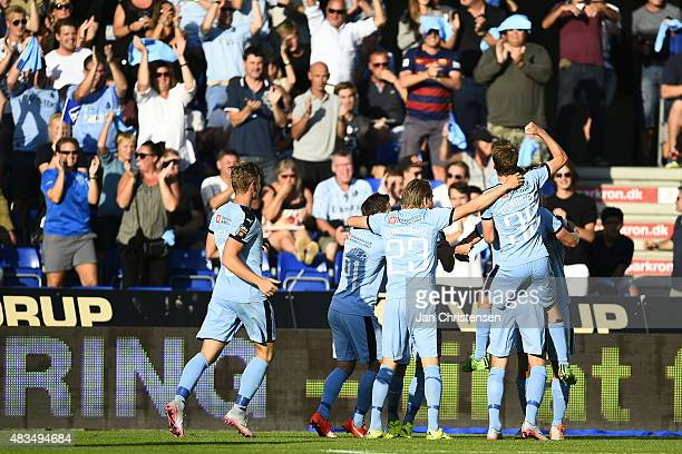 The players of Randers FC celebrating the 10 goal from Jonas Borring during the Danish Alka Superliga match between Randers FC and Brondby IF at...