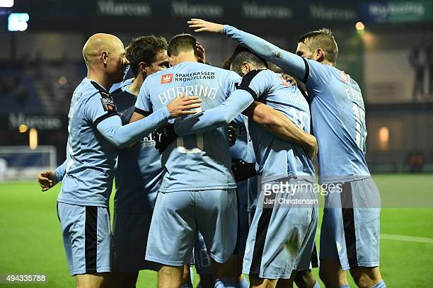 The players of Randers FC celebrating the 11 goal from Jonas Borring during the Danish Alka Superliga match between Randers FC and OB Odense at...