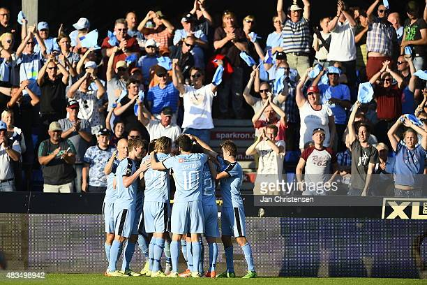 The players of Randers FC celebrating the 32 goal from Jonas Borring during the Danish Alka Superliga match between Randers FC and Brondby IF at...