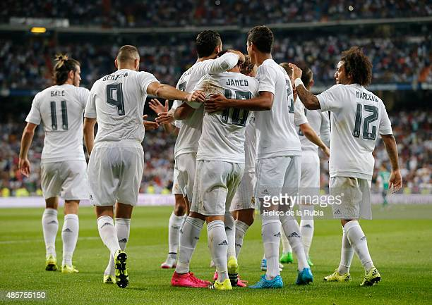 The players of Real Madrid celebrate after scoring during the La Liga match between Real Madrid CF and Real Betis Balompie at Estadio Santiago...