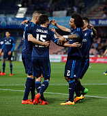 The players of Real Madrid celebrate after scoring during the La Liga match between Granada CF and Real Madrid CF at Nuevo Estadio de Los Carmenes on...