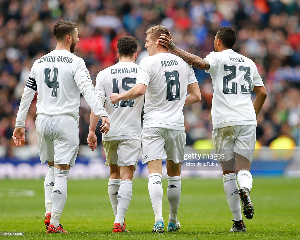 The players of Real Madrid celebrate after scoring during the La Liga match between Real Madrid CF and Athletic Club at Estadio Santiago Bernabeu on February 13, 2016 in Madrid, Spain.