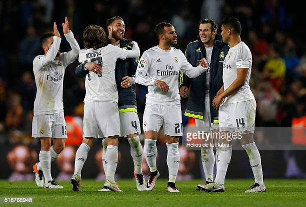 The players of Real Madrid celebrate after scoring during the La Liga match between FC Barcelona and Real Madrid CF at Camp Nou on April 2 2016 in...