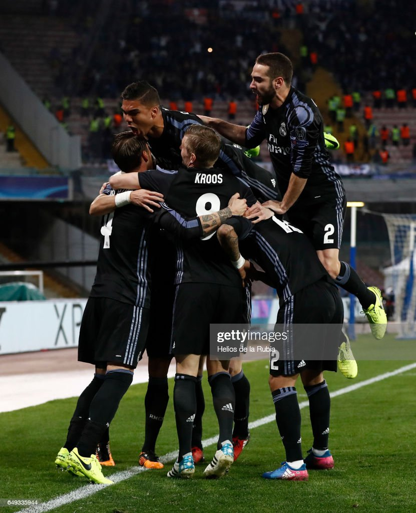 The players of Real Madrid celebrate after scoring during the UEFA Champions League Round of 16 second leg match between SSC Napoli and Real Madrid CF at Stadio San Paolo on March 7, 2017 in Naples, Italy.