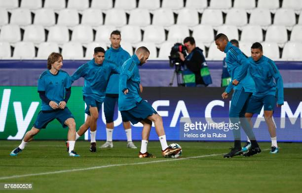 The players of Real Madrid warm up during the UEFA Champions League group H match between APOEL Nikosia and Real Madrid at GSP Stadium on November 20...