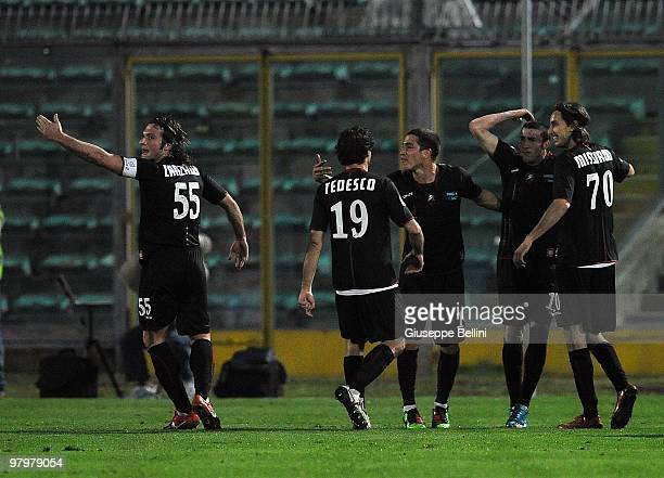 The players of Reggina celebrate the opening goal scored by Antonio Barilla' during the Serie B match between AC Ancona and Reggina Calcio at Del...