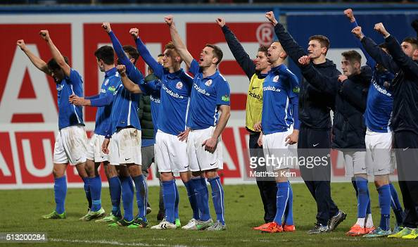 The players of Rostock show their delight after winning the third league match between FC Hansa Rostock and Holstein Kiel at Ostseestadion on March 1...