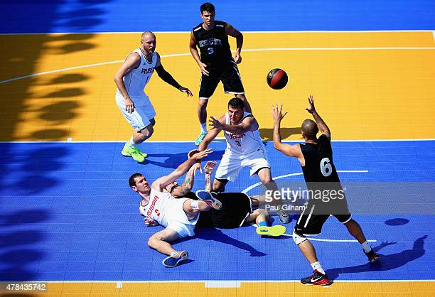 The players of Russia and Estonia clash in the Men's 3x3 Basketball round of 16 knockout match between Russia and Estonia during day thirteen of the...
