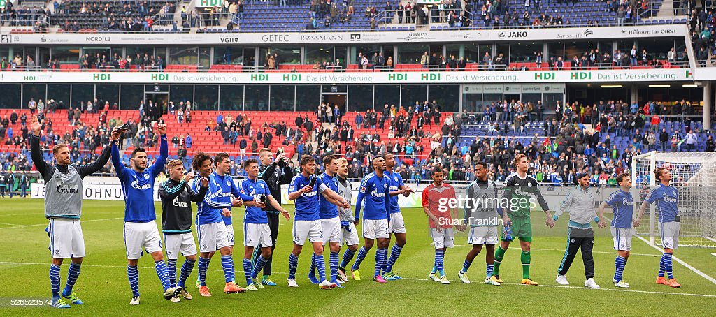 The players of Schalke celebrate at the end of the Bundesliga match between Hannover 96 and FC Schalke 04 at the HDI Arena on April 30, 2016 in Hanover, Lower Saxony.