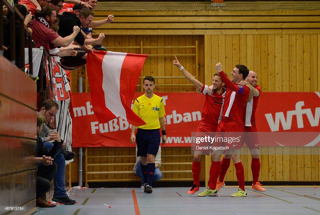 The players of Schwerte celebrate a goal during the DFB Futsal Cup Semi Final match between NAFI Stuttgart and Holzpfosten Schwerte on March 28 2015...