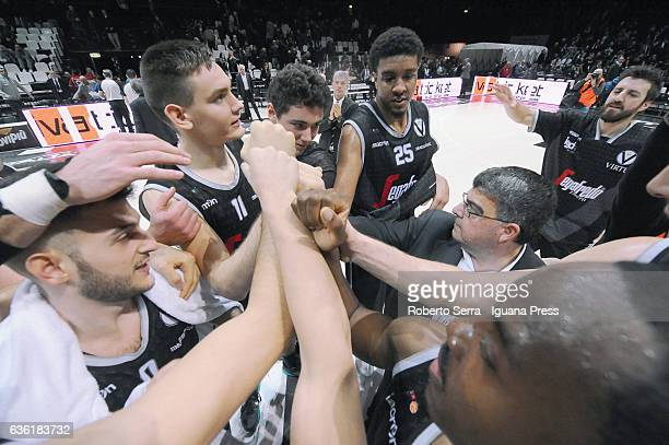 The players of Segafredo celebrates during the match of LNP LegaBasket Serie A2 between Virtus Segafredo Bologna and Scaligera Tezenis Verona at...