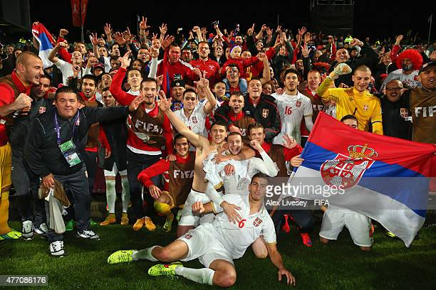 The players of Serbia celebrate with their fans after victory over USA in a penalty shoot out in the FIFA U20 World Cup Quarter Final match between...
