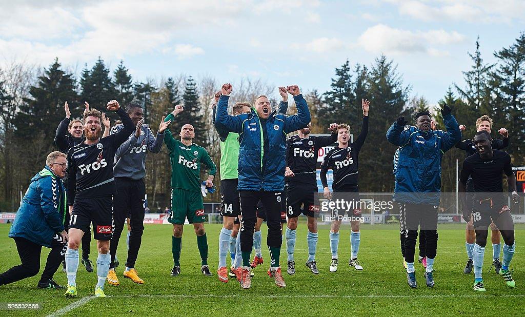 The players of Sonderjyske celebrate after the Danish Alka Superliga match between Hobro IK and Sonderjyske at DS Arena on April 30, 2016 in Hobro, Denmark.