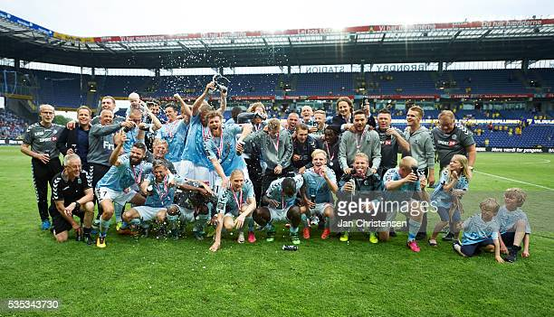 The players of SonderjyskE celebrating after the Danish Alka Superliga match between Brondby IF and SonderjyskE at Brondby Stadion on May 29 2016 in...
