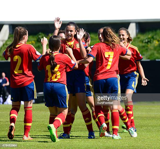 The players of Spain celebrate during the UEFA European Women's Under17 Championship match between U17 Germany and U17 Spain at Norouralsvollurinn on...