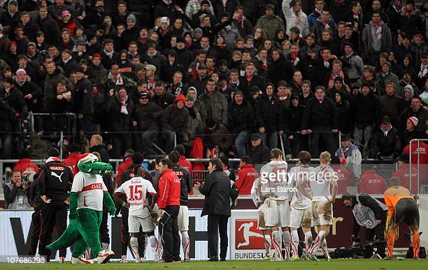 The players of Stuttgart and head coach Bruno Labbadia argue with their fans after loosing during the Bundesliga match between VfB Stuttgart and FC...