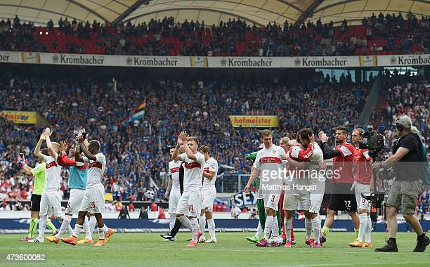 The players of Stuttgart applaud the fans after the Bundesliga match between VfB Stuttgart and Hamburger SV at MercedesBenz Arena on May 16 2015 in...