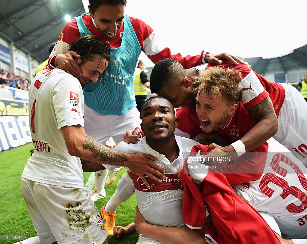 The players of Stuttgart celebrate staying in the first Bundesliga after winning the Bundesliga match between SC Paderborn 07 and VfB Stuttgart at...