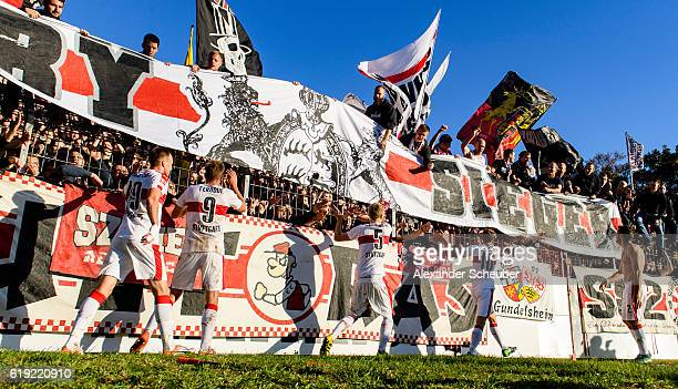 The players of Stuttgart celebrate the victory during the Second Bundesliga match between Karlsruher SC and VfB Stuttgart at Wildparkstadion on...