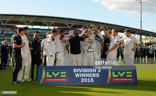 The players of Surrey winners of the Division 2 LV County Championship during the LV County Championship Division Two match between Surrey and...