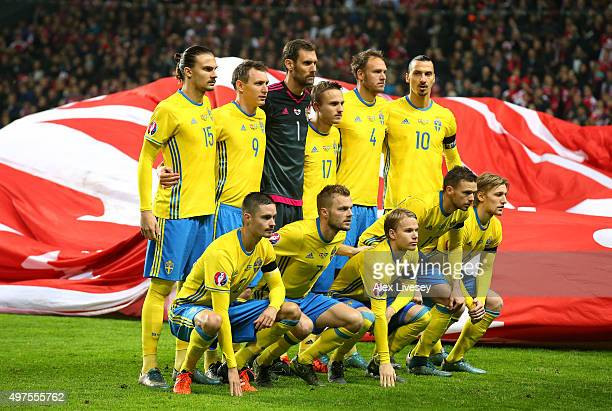 The players of Sweden line up prior to the UEFA EURO 2016 Qualifier PlayOff Second Leg match between Denmark and Sweden at Parken Stadium on November...