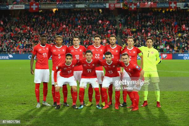 The players of Switzerland line up prior to the FIFA 2018 World Cup Qualifier PlayOff second leg match between Switzerland and Northern Ireland at St...
