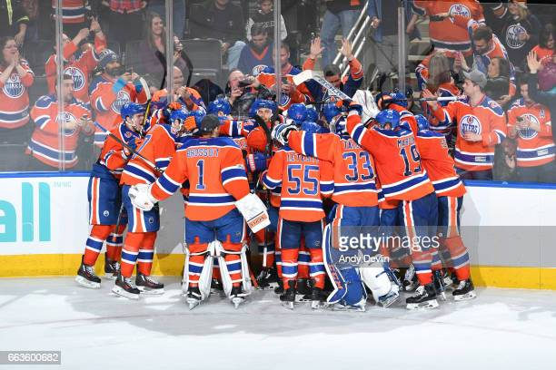 The players of the Edmonton Oilers celebrate after winning the game against the Anaheim Ducks on April 1 2017 at Rogers Place in Edmonton Alberta...