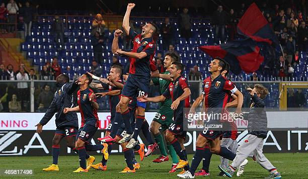 The players of the Genoa CFC celebrate victory at the end of the Serie A match between Genoa CFC and Parma FC at Stadio Luigi Ferraris on April 15...