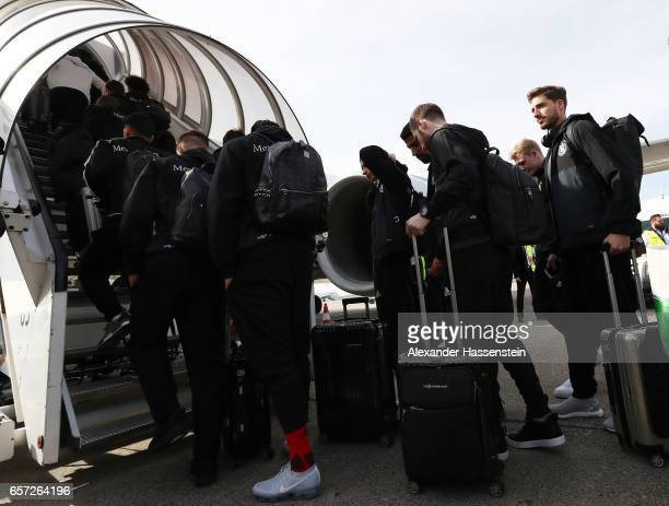 The players of the German National Team arrive at the plane at Duesseldorf Airport to depart for the FIFA 2018 World Cup Qualifier between Azerbaijan...