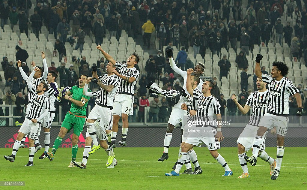 The players of the Juventus FC celebrate a victory at the end of the Serie A match betweeen Juventus FC and ACF Fiorentina at Juventus Arena on December 13, 2015 in Turin, Italy.