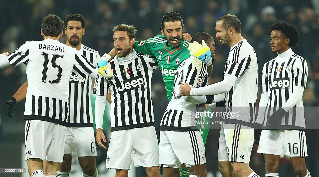 players of the Juventus FC celebrate a victory at the end of the Serie