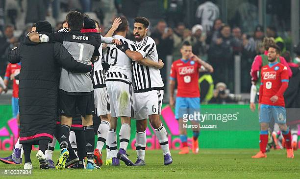 The players of the Juventus FC celebrate a victory at the end of the Serie A match between and Juventus FC and SSC Napoli at Juventus Arena on...