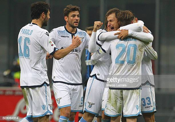 The players of the SS Lazio celebrate a victory at the end of the Serie A match between FC Internazionale Milano and SS Lazio at Stadio Giuseppe...