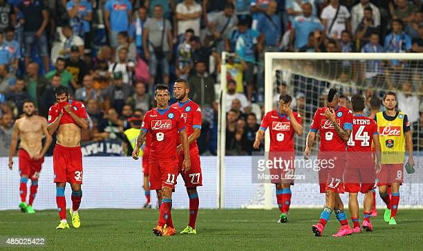 The players of the SSC Napoli leave the field disappointed at the end of the Serie A match between US Sassuolo Calcio and SSC Napoli at Mapei Stadium...