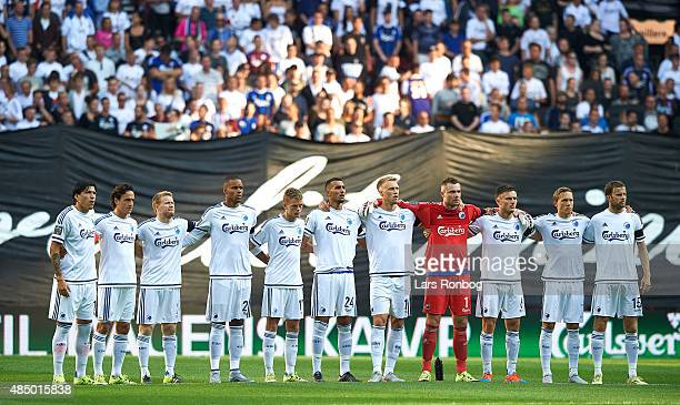 The players of the two teams in respect for former President Harald Nielsen of FC Copenhagen prior to the the Danish Alka Superliga match between FC...