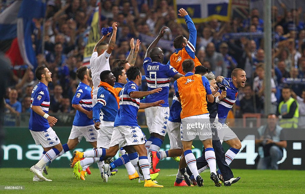 The players of the UC Sampdoria celebrate a victory at the end of the Serie A match between Genoa CFC and UC Sampdoria at Stadio Luigi Ferraris on...