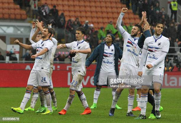 The players of the UC Sampdoria celebrate a victory at the end of the Serie A match between AC Milan and UC Sampdoria at Stadio Giuseppe Meazza on...