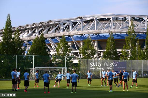 The players of Uruguay warm up during a training session in the shadow of the Daejeon World Cup Stadium during the FIFA U20 World Cup on June 2 2017...