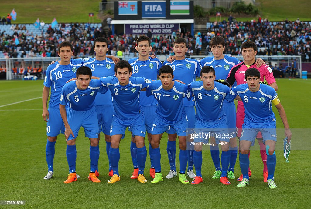 The players of Uzbekistan line up for a team photo prior to the FIFA U-20 World Cup Group F match between Fiji and Uzbekistan at the Northland Events Centre on June 7, 2015 in Whangarei, New Zealand.