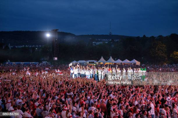 The players of VfB Stuttgart celebrate at the stage of the FanParty after winning the 2 Second Bundesliga Championship title after the 2 Second...