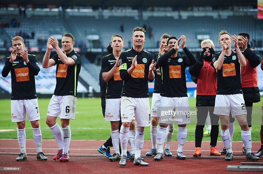 The players of Viborg FF celebrate after the Danish Alka Superliga match between AGF Aarhus and Viborg FF at Ceres Park on April 29, 2016 in Aarhus, Denmark.