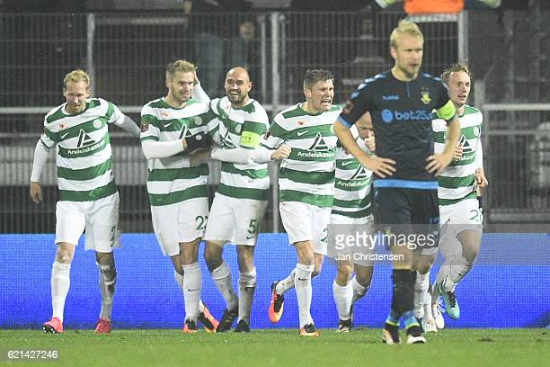 The players of Viborg FF celebrates the 11 goal from Christian Sivebak during the Danish Alka Superliga match between Viborg FF and Brondby IF at...