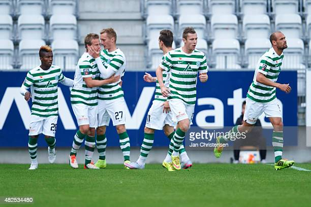 The players of Viborg FF celebrating the 11 goal from Jeppe Curth during the Danish Alka Superliga match between Viborg FF and Esbjerg fB at Energi...