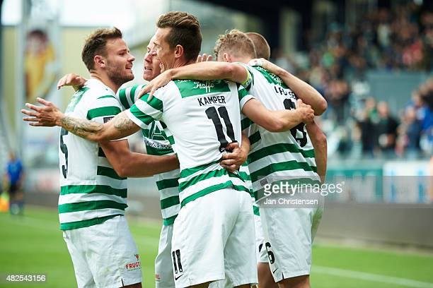 The players of Viborg FF celebrating the 21 goal from Jeppe Curth during the Danish Alka Superliga match between Viborg FF and Esbjerg fB at Energi...