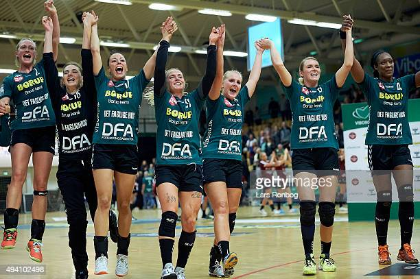 The players of Viborg Hk celebrate after the Danish Womens Handball Boxer Dameligaen match between Viborg HK and Randers HK at Viborg Stadionhal on...