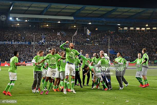 The players of Wolfsburg celebrate after the DFB Cup Semi Final match between Arminia Bielefeld and VfL Wolfsburg at Schueco Arena on April 29 2015...