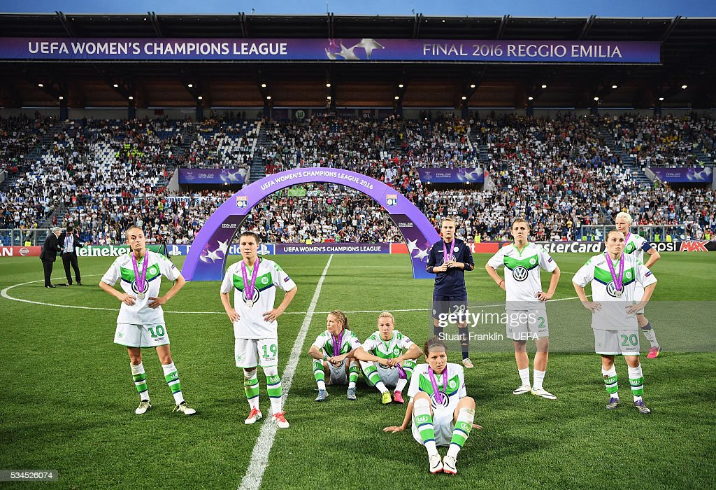 Reggio nell'Emilia, ITALY - MAY 26: The players of Wolfsburg look dejected after losing in the penalty shoot out at the UEFA Women's Champions League Final at Mapei - Citta' del Tricolore Stadium on May 26, 2016 in Reggio nell'Emilia, Italy.