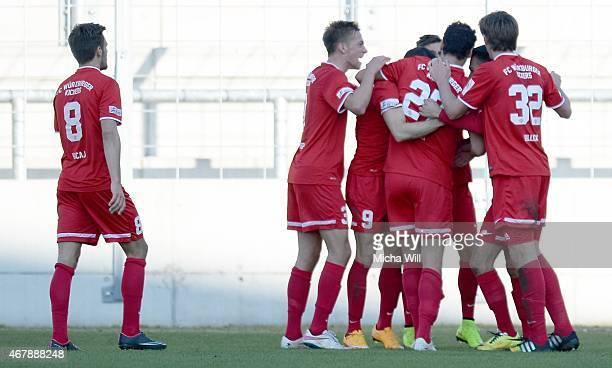 The players of Wuerzburg celebrate their first goal during the Regionalliga Bayern match between TSV 1860 Muenchen II and Wuerzburger Kickers at...