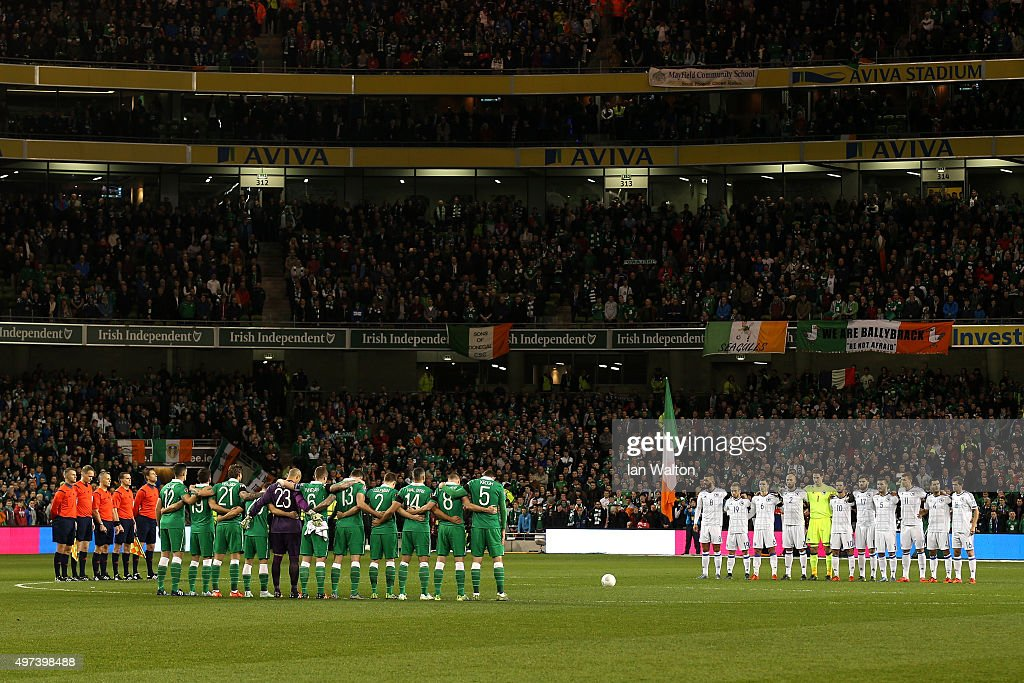 The players, officials and fans observe a silence in remembrance to the victims of last weeks terror attacks in Pari,s prior to kickoff during the UEFA EURO 2016 Qualifier play off, second leg match between Republic of Ireland and Bosnia and Herzegovina at the Aviva Stadium on November 16, 2015 in Dublin, Ireland.