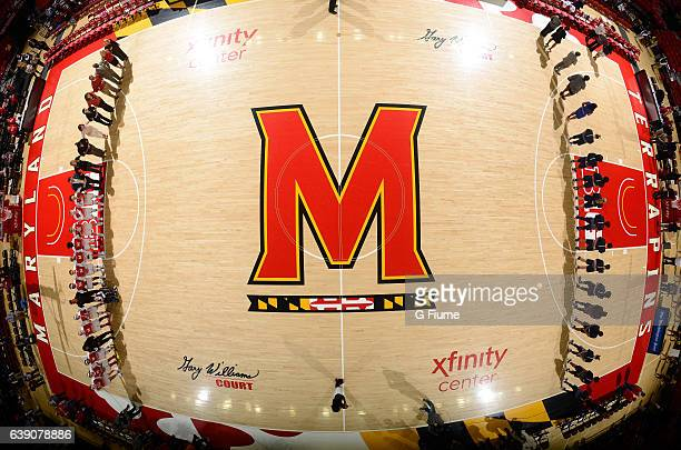 The players stand for the national anthem before the game between the Maryland Terrapins and the Penn State Lady Lions at Xfinity Center on January...